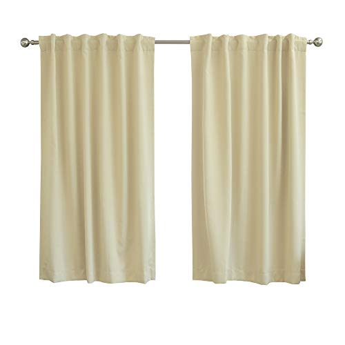 Best Home Fashion Premium Blackout Curtain Panels - Solid Thermal Insulated Window Treatment Blackout for Bedroom - Back Tab & Rod Pocket – Beage - 52' W x 63' L - (Set of 2 Panels)