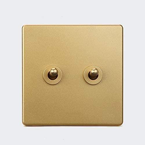 PJDOOJAE 86 interruptor de alternar interruptor de oro 1-4 pandilla Vintage palanca de latón zócalo palanca retro panel de interruptor de pared encendido oculto 86 viento industrial nordicpanel mejora