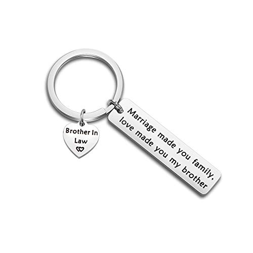 bobauna Brother in Law Gift Marriage Made Us Family Love Made You My Brother Keychain (Brother in Law Keychain)