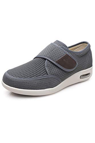 Men's Diabetes Elderly Shoes Big Velcro Adjustable Anti Slip Double Layer Insole air Cushion Sole Walking Grey