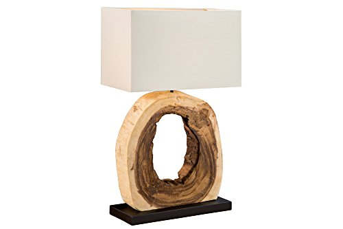 DuNord Design Tischlampe Treibholzlampe Teakholz massiv Lampe Unikat BURMA Leinen Naturholz