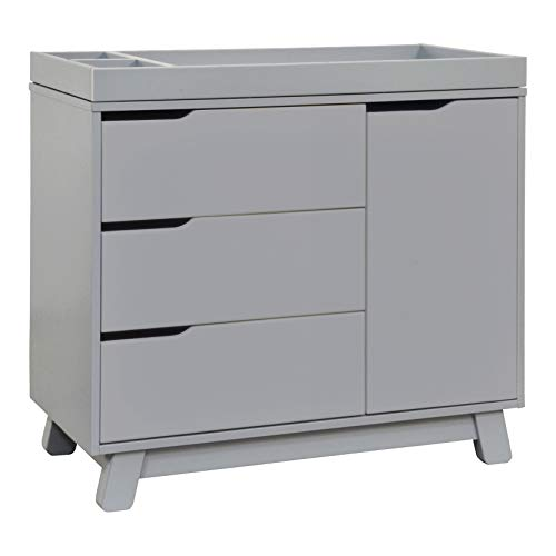 Babyletto Hudson 3-Drawer Changer Dresser with Removable Changing Tray in Grey