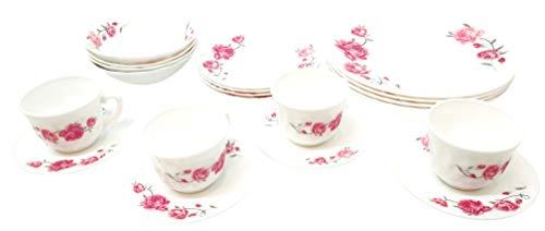 Unique Design 20 Piece Kitchen Dinnerware Set, 4 Dinner Plates, 4 Side Plates, 4 Bowls, 4 Teacups & Saucers set, Service for 4 (Rose Flowers)