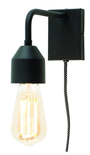 ROMI MADRID Wandleuchte mit Stecker, Lampe für die Wand mit Schalter, E27, 60 Watt (Schwarz)