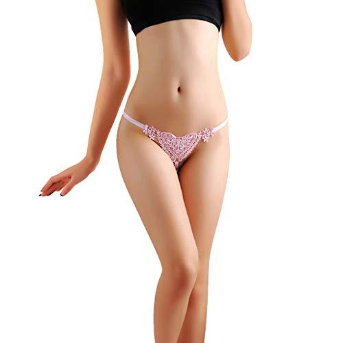 Timogee Ropa Interior Sexy Braguitas de Encaje de Mujer G Bragas Super Finas Mujeres Sexy de Encaje Perspectiva Bragas Tangas lencería Bikini Bragas(Rosado,Talla única)
