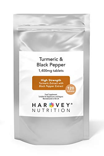 Turmeric & Black Pepper Tablets, 1400mg High Strength Extract 90% Curcumin, 120 Vegetarian Tablets, UK Made, Harvey Nutrition