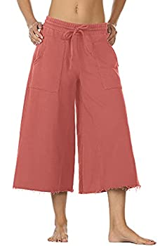 icyzone Culottes Capri Pants for Women - Elastic Waist Wide Leg Joggers Casual Lounge Cotton Sweatpants with Pockets  S Dusty Pink