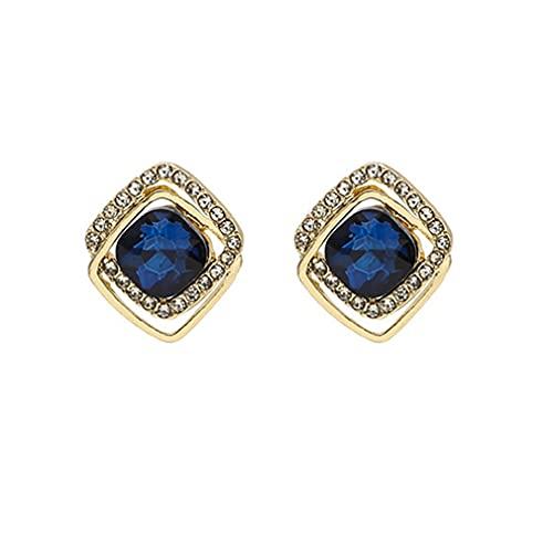 CandyT Pendientes para Mujer, Elegantes, con Diamantes de imitación, Piedra Azul, Pendientes de cumpleaños, Regalo de Boda, Pendientes, joyería de Moda (Azul y Oro)