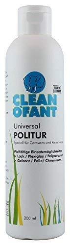 CLEANOFANT Universal-POLITUR - 200 ml - für Wohnwagen, Wohnmobil, Caravan, Camping-Zubehör. Kratzer entfernen/aus polieren. Für Handpolitur + Poliermaschine geeignet