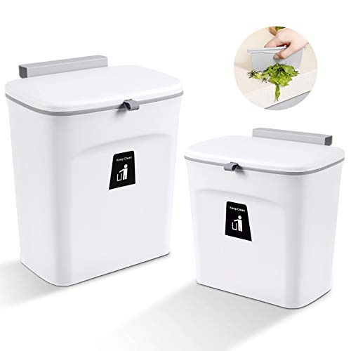 Aogist Juego de 2 cubos de basura de cocina para colgar con tapa, para la puerta bajo el fregadero, 9 L, color blanco