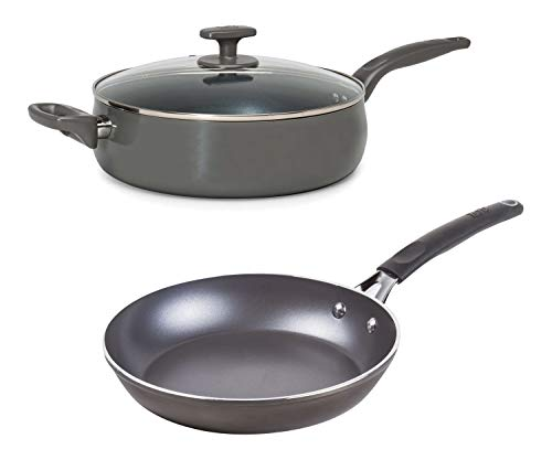 5 Quart Non-Stick Dishwasher Safe Jumbo Cooker Saute Pan with Helper Handle and Glass Lid, Diamond-Reinforced, Ombre Gray bundle with 9.5' Diamond Reinforced Non-Stick Frying Pan, Gunmetal