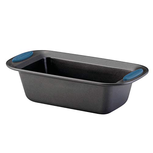 Rachael Ray 47963 Yum-o! Bakeware Oven Lovin' Nonstick Loaf Pan, 9-Inch by 5-Inch Steel Pan, Gray with Marine Blue Handles