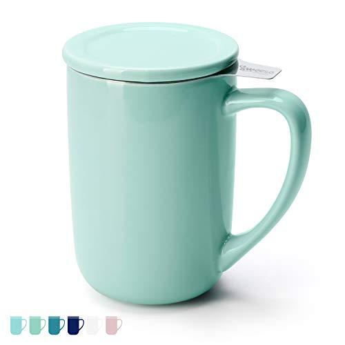 Sweese 203.109 Teetasse mit Deckel und Sieb, Tee tassen Porzellan für Losen Tee Oder Beutel, Minzgrün, 450 ml