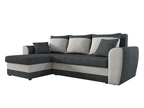 Ecksofa Domo, Eckcouch Couch mit Schlaffunktion, Bettkasten, L-Form Sofa! Farbauswahl, Bettfunktion! Wohnlandschaft! Seite Universal! (Majorka 03 + Majorka 04)