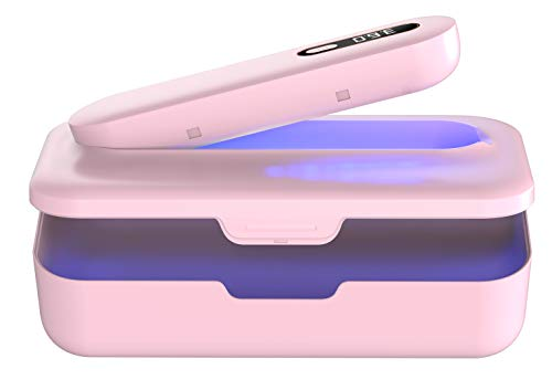 UV Light Sanitizer Box – UV Cell Phone Sanitizer, Phone Cleaner, UV Sterilizer, 2 in 1 Design with Removable UV Sanitizer Wand, Portable, Ultraviolet Light Disinfection for Home and Travel, Pink