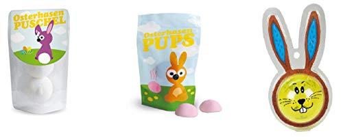 Preisvergleich Produktbild Geschenkidee Set für Ostern 1. Osterhasen Puschel - Schaumzucker Speckbälle & 2. Osterhasen Pups - Schaumzucker Speckbälle & 3. Hasen Bunny Hüpfball / Flummi mit Licht (6, 8 cm)