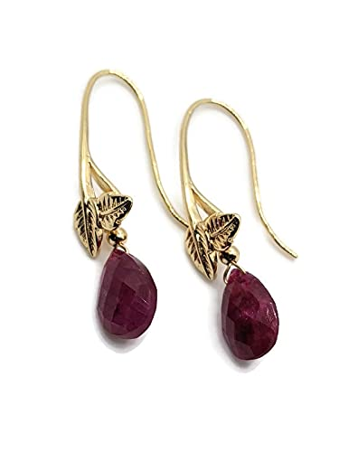Ruby Teardrop Earrings in 18K Plated safety Gold July Birthst Wire Ear Year-end annual account