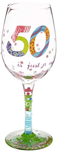 """Designs by Lolita """"50 is Just a Number"""" Hand-painted Artisan Wine Glass, 15 oz."""