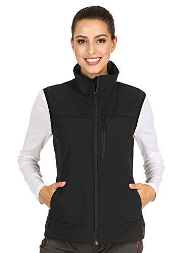MIER Women's Lightweight Softshell Vest Front-Zip Outdoor Water-Resistant Vest with 7 Pockets, Fleece Lined, Black, XL