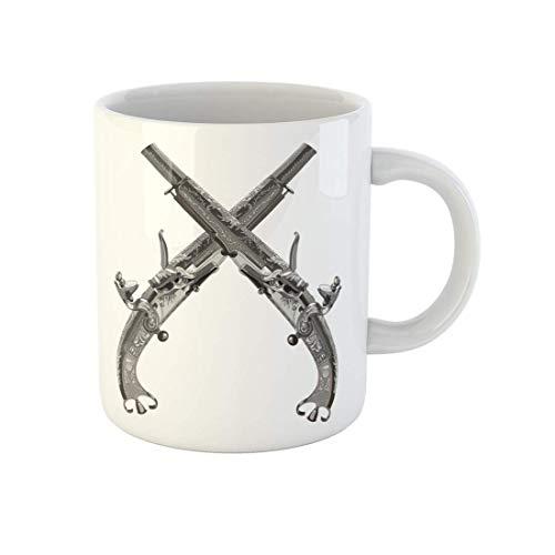 Taza de café plateada con pistola, escocés The Scroll Rams Horn Butt de cerámica de 11 onzas, el mejor regalo o recuerdo para familiares amigos compañeros