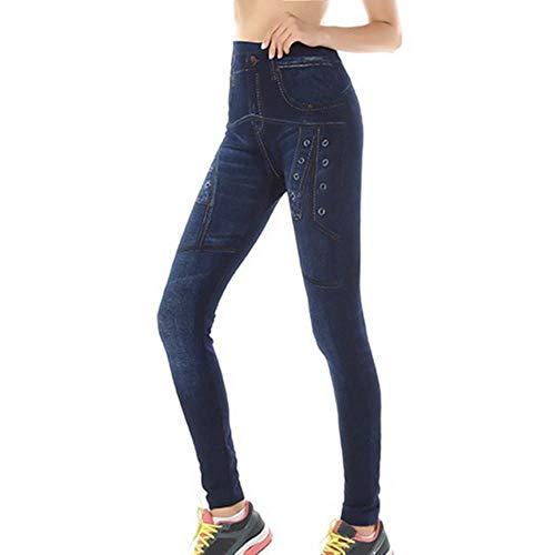 SELLM Women Gym Leggings Faux Denim Jeans Leggings Pocket Printing Leggings Casual High Waist Pencil Pants Plus Pants,deep blue C,XXXL