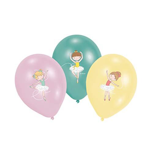 amscan 9903964 6 Latexballons Kleine Tänzerin, Rosa, Gelb & Blau