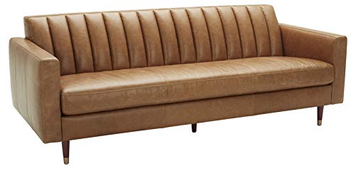 Amazon Brand – Rivet Damien Mid-Century Modern Channel-Tufted Sofa, 87'W, Leather, Cognac