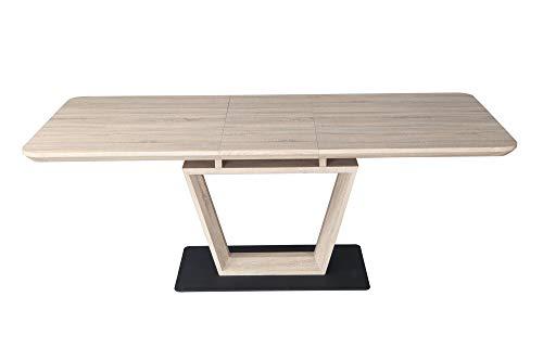 Meubletmoi Table de Repas Extensible 160/200 cm rectangulaire en chêne avec Pied Central - Design Moderne - Luccia