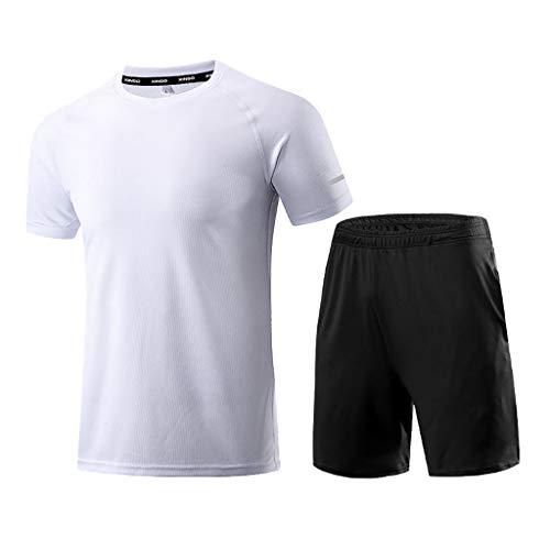 Yowablo 2pcs Funktionsshirt Herren, Kompression Set Funktionswäsche, Laufhose Tights Herren Leggings Sport Shorts, Sportbekleidung Set für männer (XL,1Weiß)