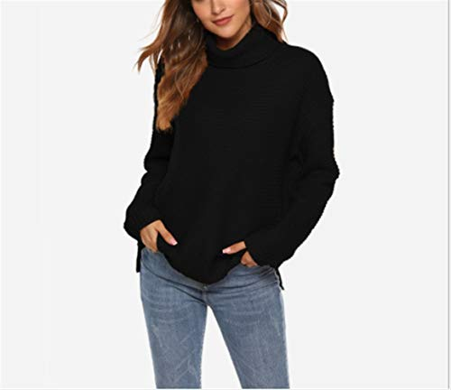 Vrouwen Button Sweater Coltruien Solid Trui Grof Lines Hedging Knitwear Winter Hooded (Color : Black, Size : S)