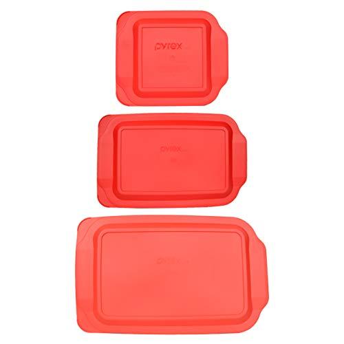 Pyrex (1) 234-PC 4qt & (1) 233-PC 3qt & (1) 222-PC 2qt Red Plastic Replacement Baking Dish Lids