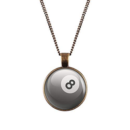 Mylery Hals-Kette mit Motiv 8-Ball Eight-Ball Pool-Billard Kugel Schwarz Weiß Bronze 28mm