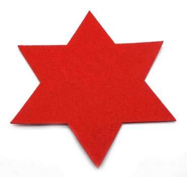 Annastore 6 x Filzsterne in verschiedenen Größen und Farben Ø 15 cm, 20 cm, 35 cm - Weihnachtsdeko Filz - Tischset aus Filz - Untersetzer- Platzdeckchen - Platzset Farbe Rot, Größe Ø 15 cm