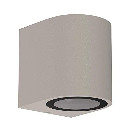 ledscom.de Luz exterior ALSE Downlight, exterior, gris, aluminio, redondo, incl. lámpara LED GU10, blanco cálido, regulación en 3 pasos: 540lm/270lm/110lm cada uno, 8 piezas.