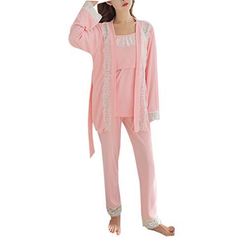 Femmes Maternité Pyjamas Ensemble de Nuit - Dame 3 Pièces Allaitement Grossesse Chemise de Nuit Doux l'allaitement Homewear M
