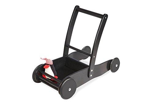 Pinolino lunchwagen Pirat James, van hout, met remsysteem en rubberen houten wielen, incl. stickerboog, voor kinderen vanaf 1 jaar, zwart