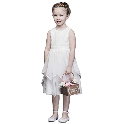 David's Bridal Chiffon Flower Girl/Communion Dress with Large Bow Sash Style OP253, Soft White, 14