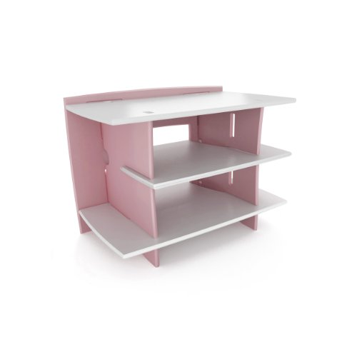 Legaré Furniture Kids Gaming and TV Media Stand, Standard Storage Unit for Bedroom, Basement, and Playroom, Pink and White