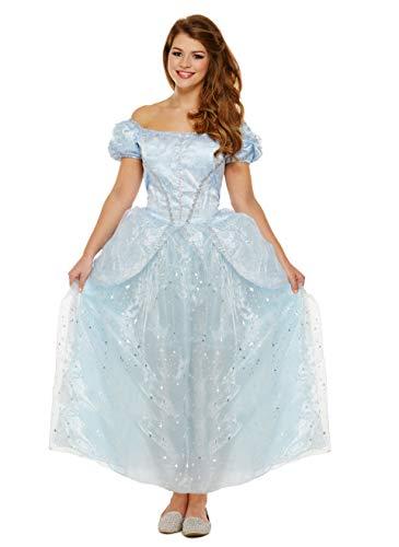 Emmas Garderobe Blaue Prinzessin-Kleid-Kostüm - Mit Langen blauen Sternenkleid - Frauen Märchen Halloween-Kostüm - Made UK Größen 8-16 (Women: 36, Blue)