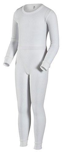 Indera Ensemble de sous-vêtements Thermiques Traditionnels pour Filles, Fille, 401ST, Blanc, L