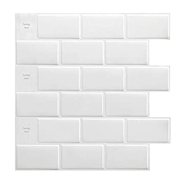 Art3d 10-Sheet Peel and Stick Tile Backsplash - 12 x12  Premium Kitchen Backsplash Peel and Stick Tile White
