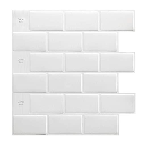 Art3d 10-Blätter-Fliesenaufkleber 30 * 30 cm 3d Premium Abziehbar Backsplash-Fliesen Weiß für Küchen Bad