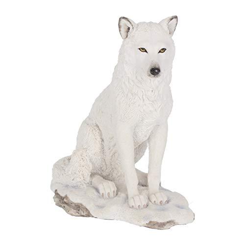 F/éeries et merveilles Figurine Loup Blanc Grand MOD/ÈLE Loup Blanc Hauteur 21 cm x Largeur 29.5 cm - Statuette Loup