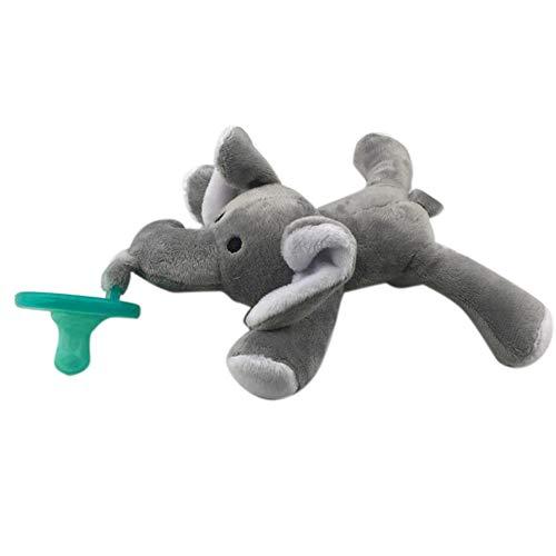 0Miaxudh Schnuller, schöne Baby nippel säuglingssilikon Schnuller mit Cartoon Tier plüsch Puppe Spielzeug Elephant*