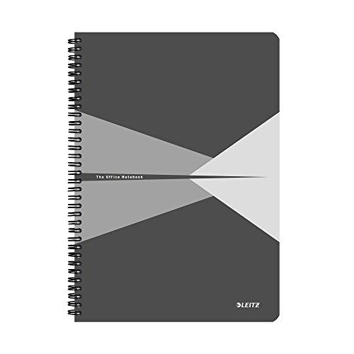 Leitz 46470085 Office Collegeblock A4 kariert, spiralgebunden mit Karton Einband Grau