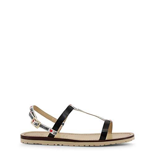 Love Moschino Damen Sandalen schwarz mit Knöchelriemenschnalle, Schwarz - Schwarz - Größe: 35 EU