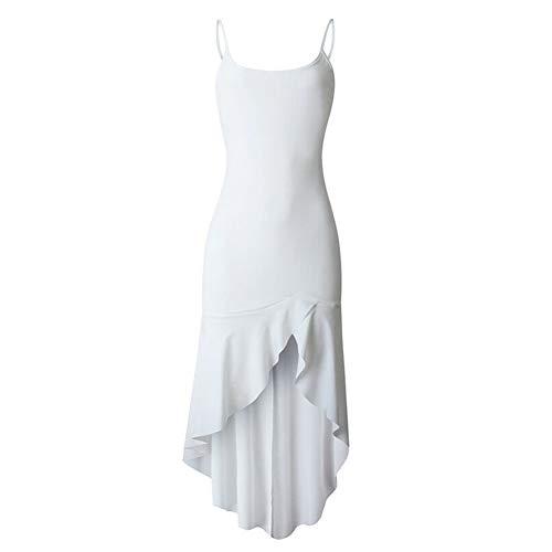 HaiQianXin Vestido de Color sólido de Las Mujeres Sexy Correa de Espagueti sin Respaldo asimetría Dobladillo hasta la Rodilla Vestido para el Verano (Color : White, Size : XL)