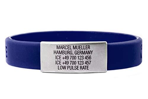 ICEstripe Notfall ID Armband Personalisierte Benutzerdefinierte Medizinische Alarm Armband mit Edelstahlplatte inkl. Kostenlose Gravur nach Wunsch Sport ID (Navy Blau, 202)