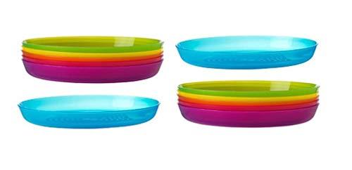 Assiettes en plastique incassables Ikea de 6couleurs assorties au design élégant