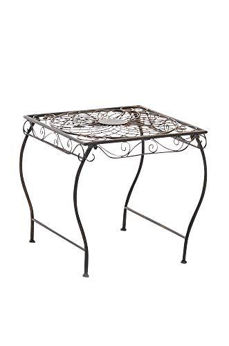 CLP Table de Jardin Carrée ZARINA   Table de Balcon de Style Nostalgique en Fer Hauteur 46 cm   Table de Terrasse à 4 Pieds Stable   Meuble de Jardin avec Surface 45 x 45 cm en Différentes Couleurs Bronze